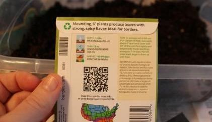 Reading back of seed package when planting seeds