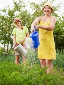 Women watering parsley in garden