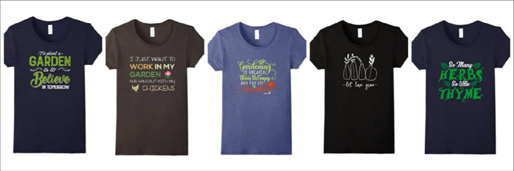 Five of my favorite women's gardening t shirts on Amazon