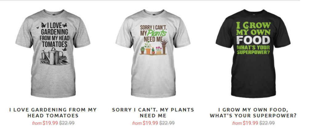 3 funny garden t-shirts