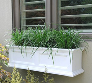 White window box planter on the side of the house filled with plants