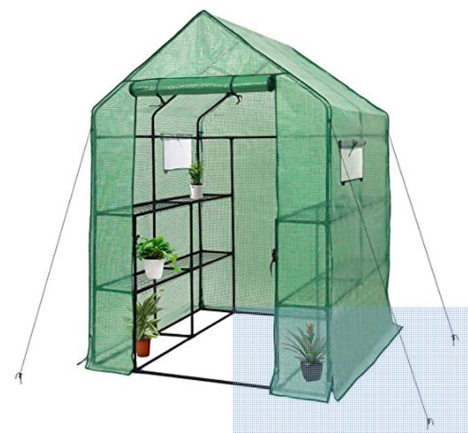 Lightweight structure shown with tie downs, mesh fabric and plants on the shelves