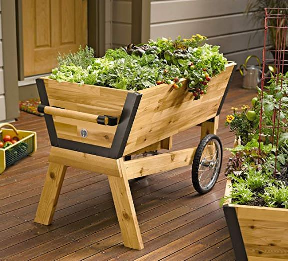 a rolling garden planter filled with herbs and vegetable plants