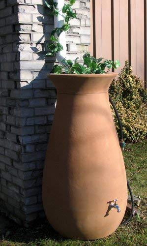 Algreen Products Cascata Rain Barrel 65-Gallon, Terra Cotta - setup outside