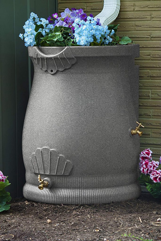 Good Ideas RWURN50-LIG Rain Wizard Rain Barrel Urn planted with outside