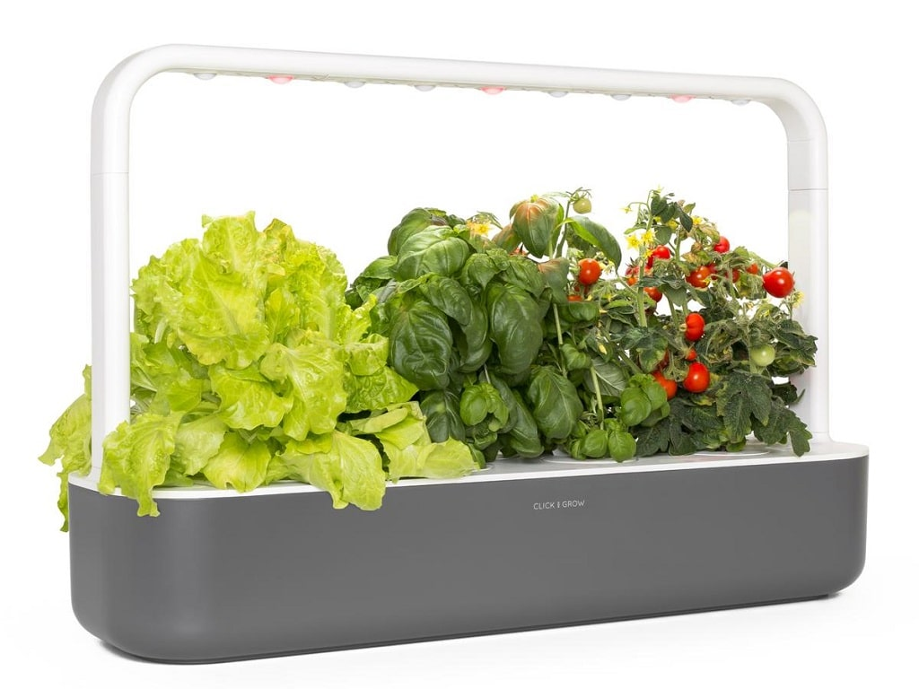 the larger click and grow 9 shown with lettuce, basil and tomatoes