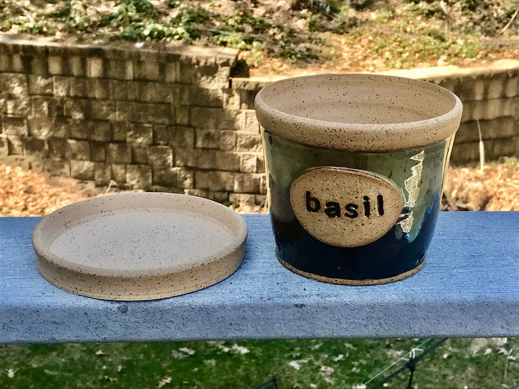 herb planter for basil with matching saucer