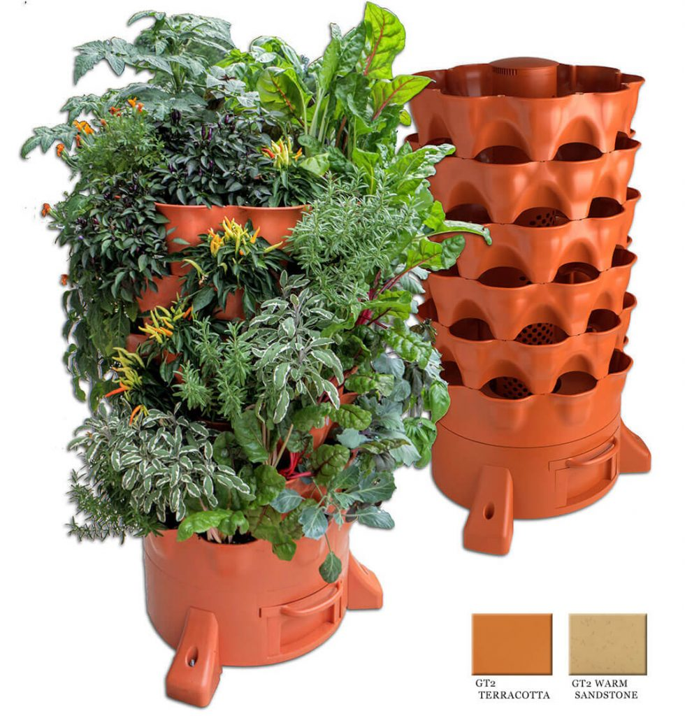 50 plant garden tower filled with vegetables and herbs