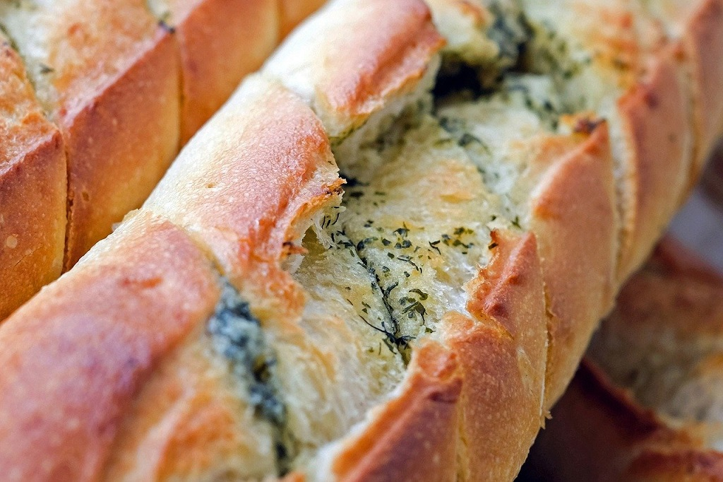 baked bread with sage butter