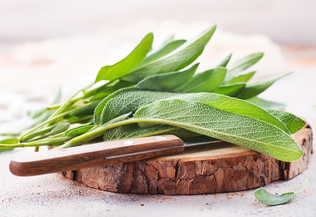fresh sage on the cutting board