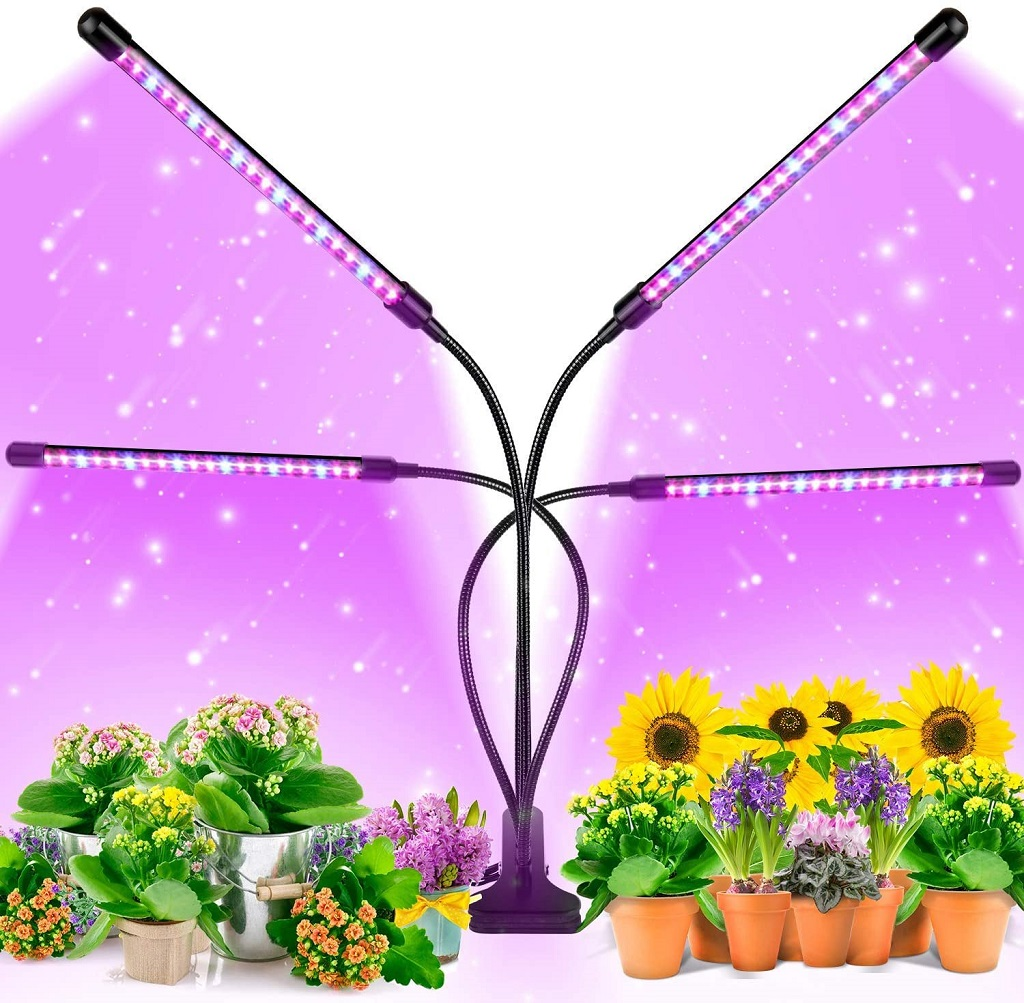 EZORKAS 4 Arm Grow light shown with demonstration plants