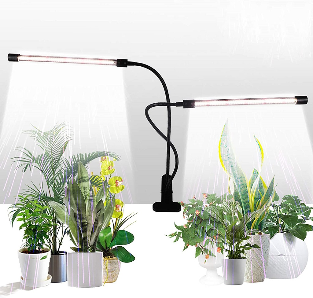 GHodec Sunlight White 50W 84 LEDs Dual Head Clip Plant shown with demonstration plants