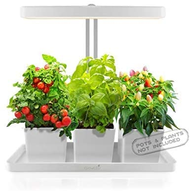 GrowLED Adjustable Light and drip tray shown with tomatoes, peppers and basil.