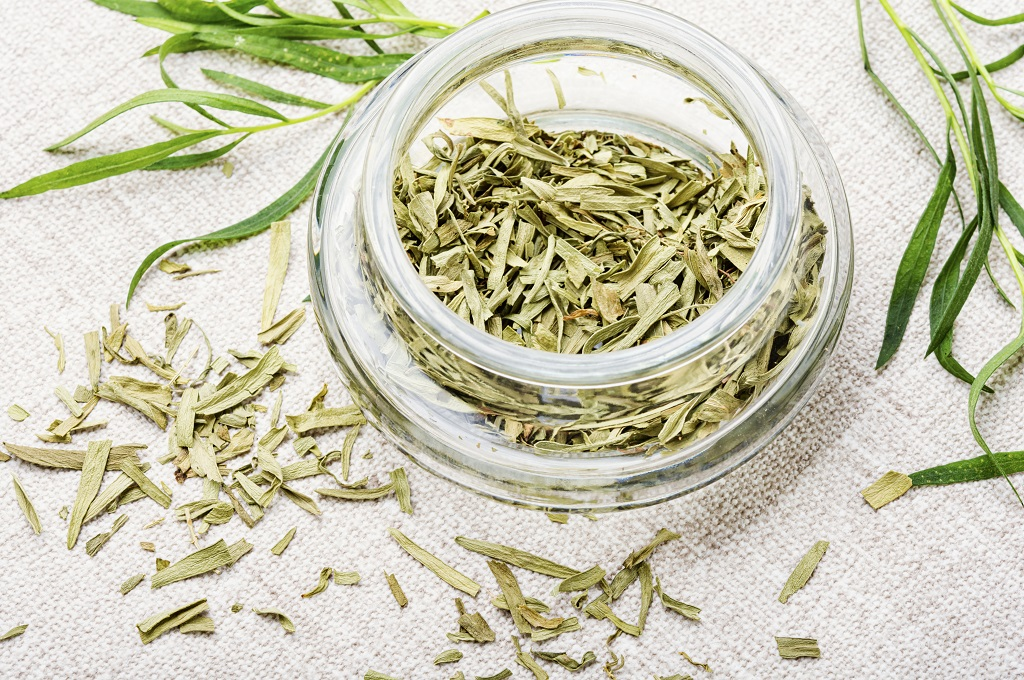 dried tarragon in a jar