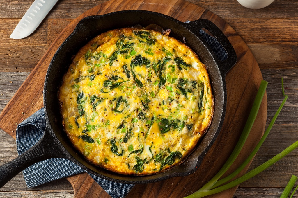 fritatta with fresh herbs and spinach