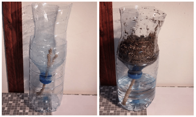 water bottle wicking system for keeping plants watered