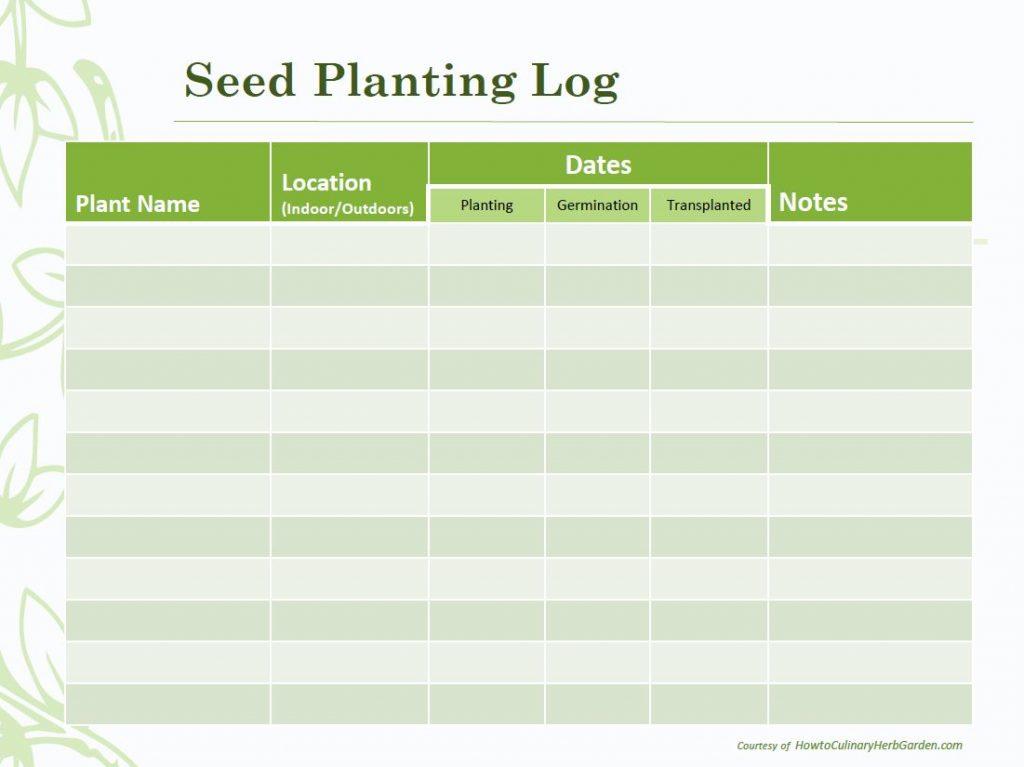 Herb Seed Planting Log